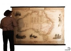 Old map of Australia, vintage wood, canvas, luxury giant map