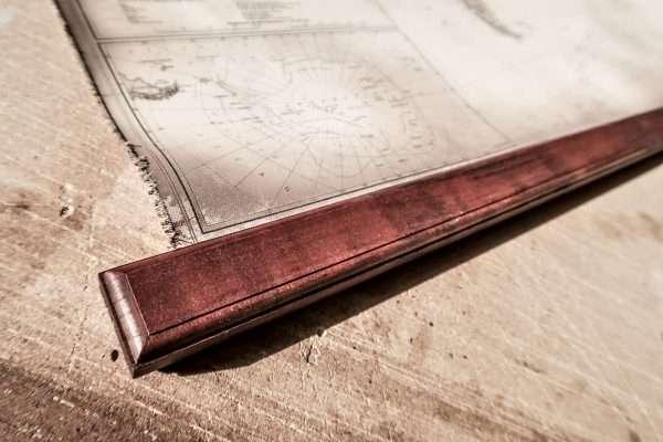 Canvas world map American walnut wood frame