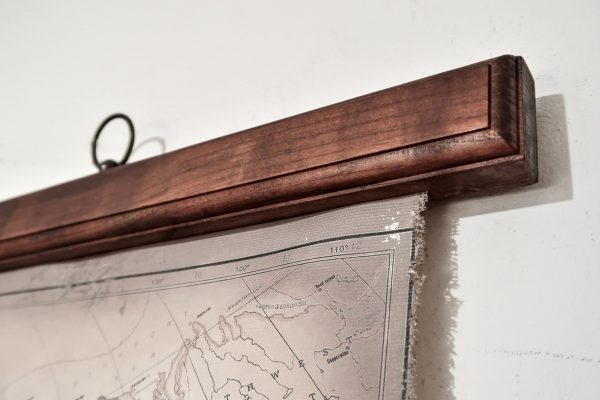 Canvas world map frame with hinge