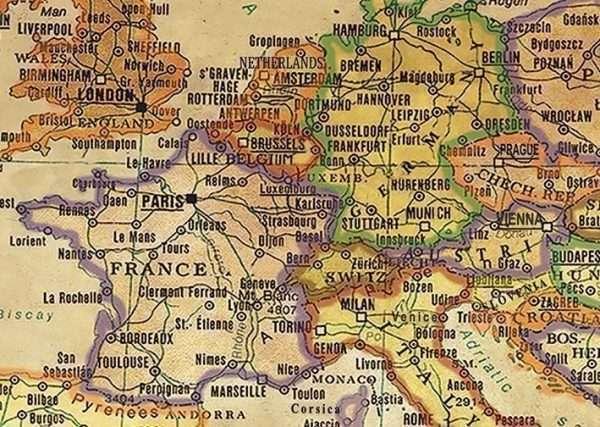 Push Pin Map - detail Europe
