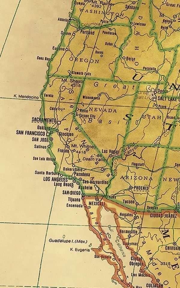 Push Pin Map - detail US West