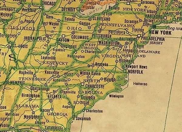 Push Pin Map - detail US East