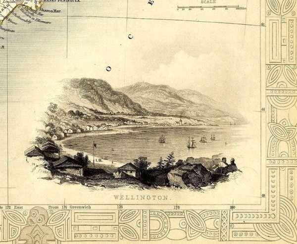 Large map of New Zealand - illustration of Wellington