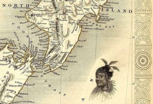 Large map of New Zealand - illustration of Maori warrior